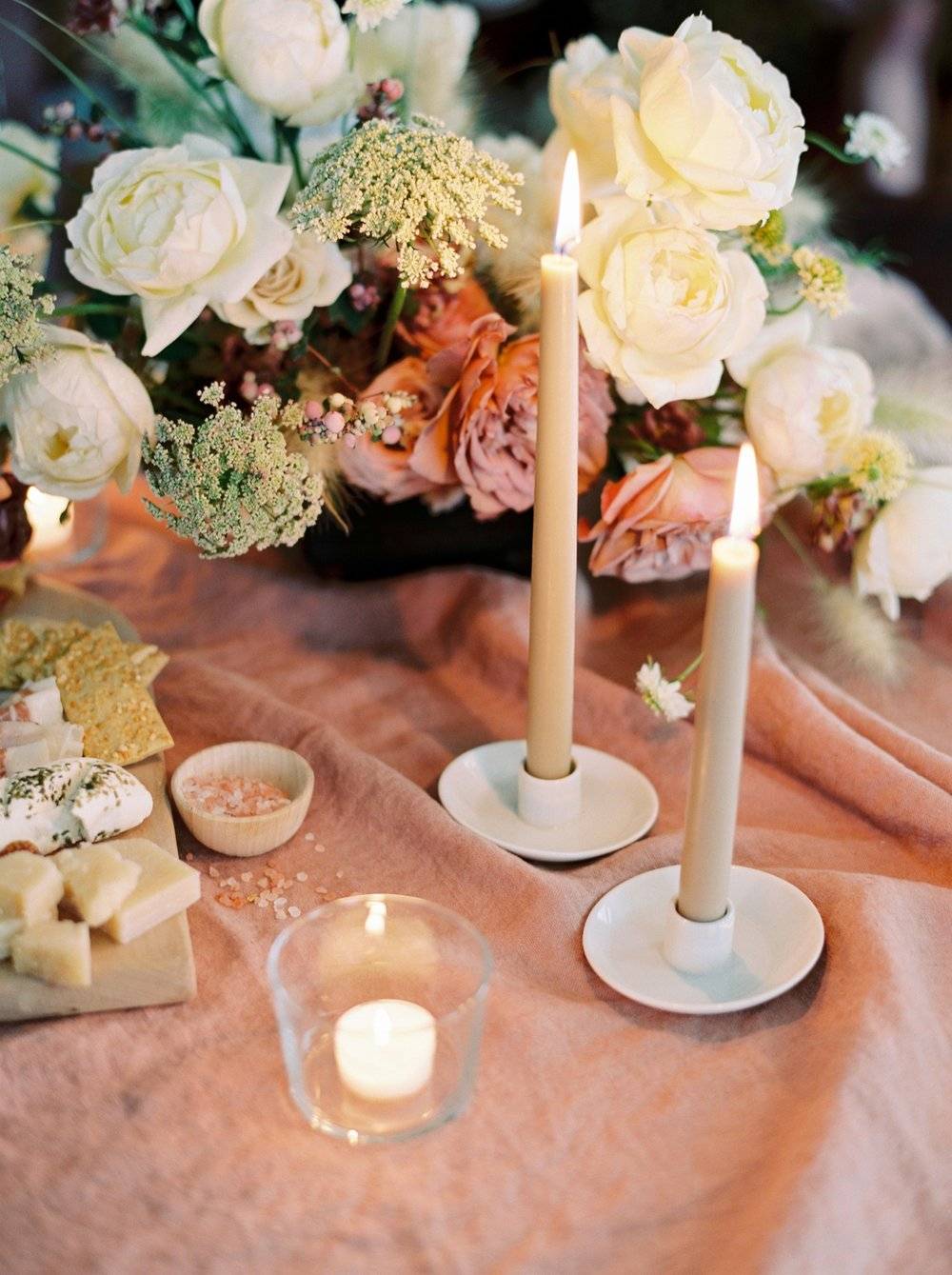Charleston wedding photographer | anniversary dinner | fine art film photography | Calgary Wedding Photographers | Calgary couples photographer | Justine Milton Photography | candles | flowers