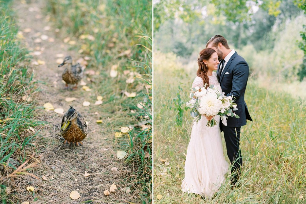 Calgary wedding photographers | fine art film | Justine Milton Photography | wedding inspiration | wedding dress | bride and groom portraits | bouquet | ducks