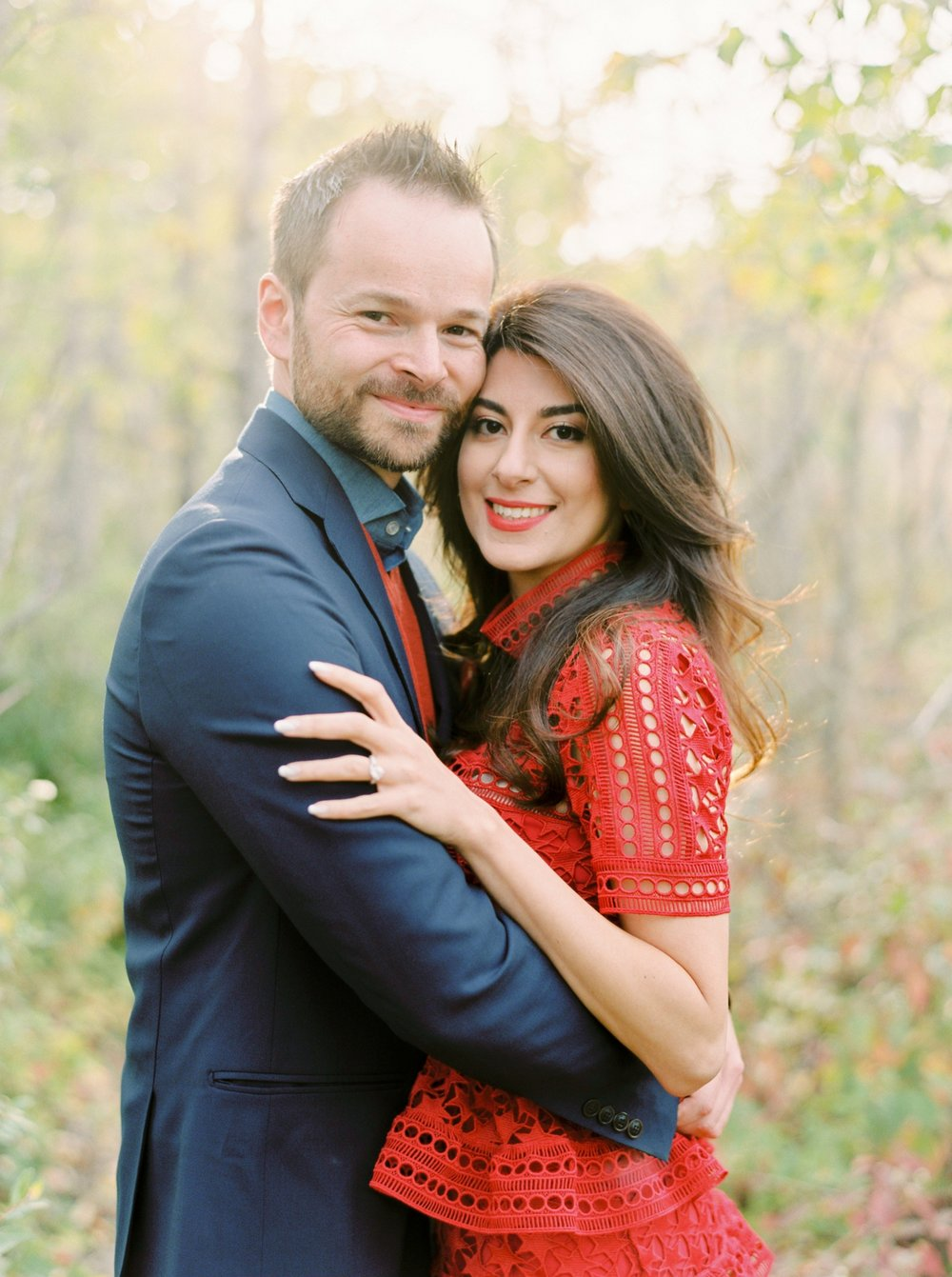 Calgary wedding photographers | fine art film | Justine Milton Photography | calgary engagement | engagement photos | red dress | couples portraits | fall engagement