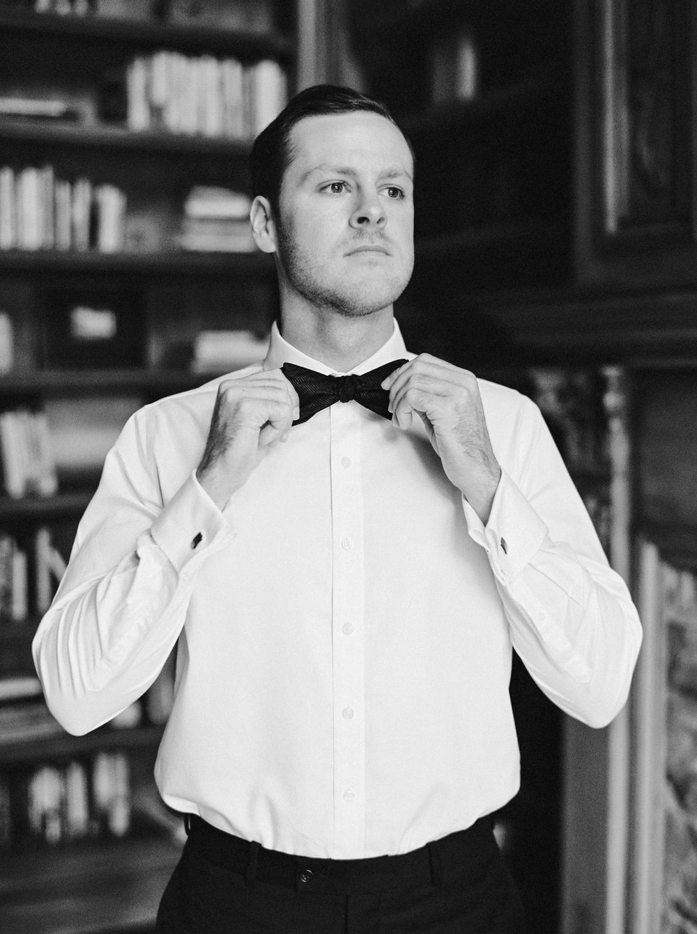 Calgary wedding photographers | georgia wedding photographers | fine art film | Justine Milton Photography | wedding details | georgia wedding | groom getting ready | bowtie