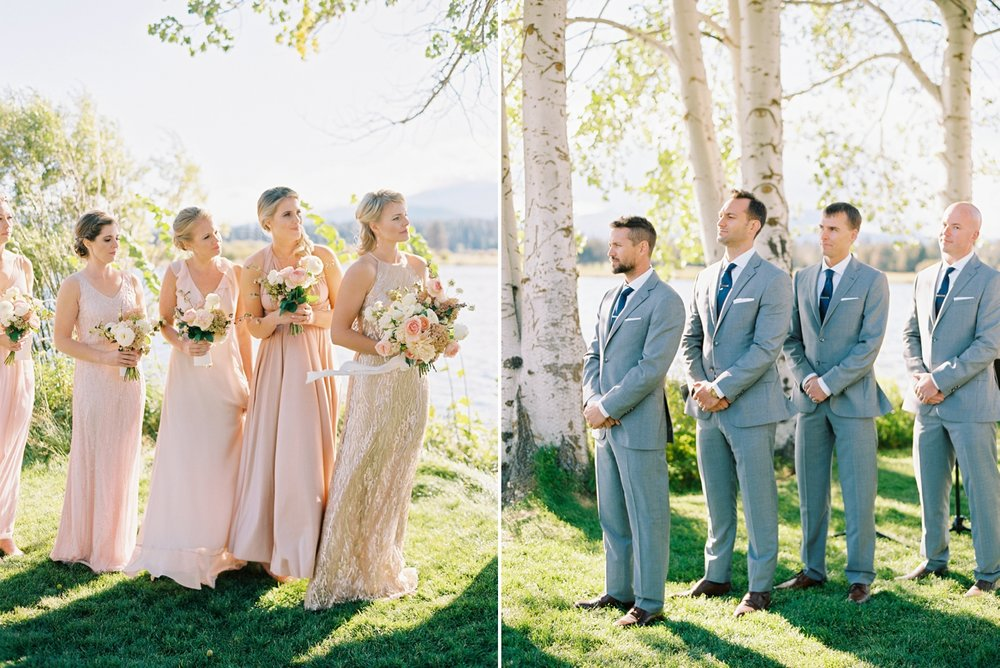 Calgary wedding photographers | oregon wedding photographers | fine art film | Justine Milton Photography | oregon wedding | wedding ceremony | bridesmaids | groomsmen | grey suits