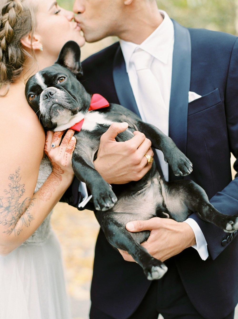 Calgary wedding photographers | fine art film | Justine Milton Photography | canmore wedding photographers | bride and groom portraits | dog | kiss