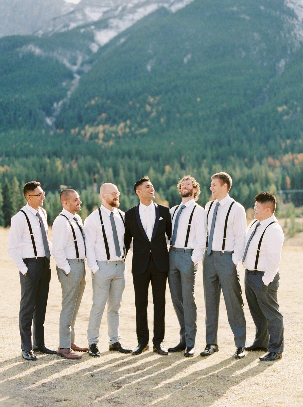 Calgary wedding photographers | fine art film | Justine Milton Photography | canmore wedding photographers | groomsmen portraits | mountain wedding