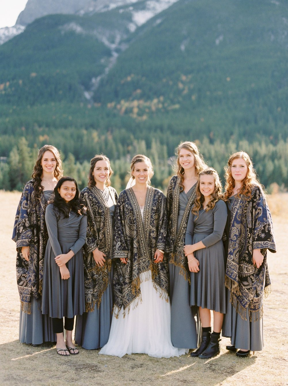 Calgary wedding photographers | fine art film | Justine Milton Photography | canmore wedding photographers | bridesmaids portraits | mountain photography