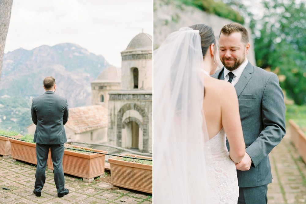 Ravello Italy Amafli Coast destination wedding photographers | english speaking wedding photographer in Italy | Justine Milton Photography | first look
