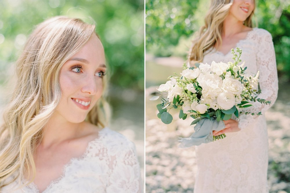 Calgary wedding photographers | The Gathered Farm Wedding | Justine milton fine art film photographer | bride portraits white bridal bouquet white peonies