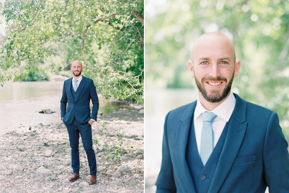 Calgary wedding photographers | The Gathered Farm Wedding | Justine milton fine art film photographer | Navy blue grooms suit groom portrait