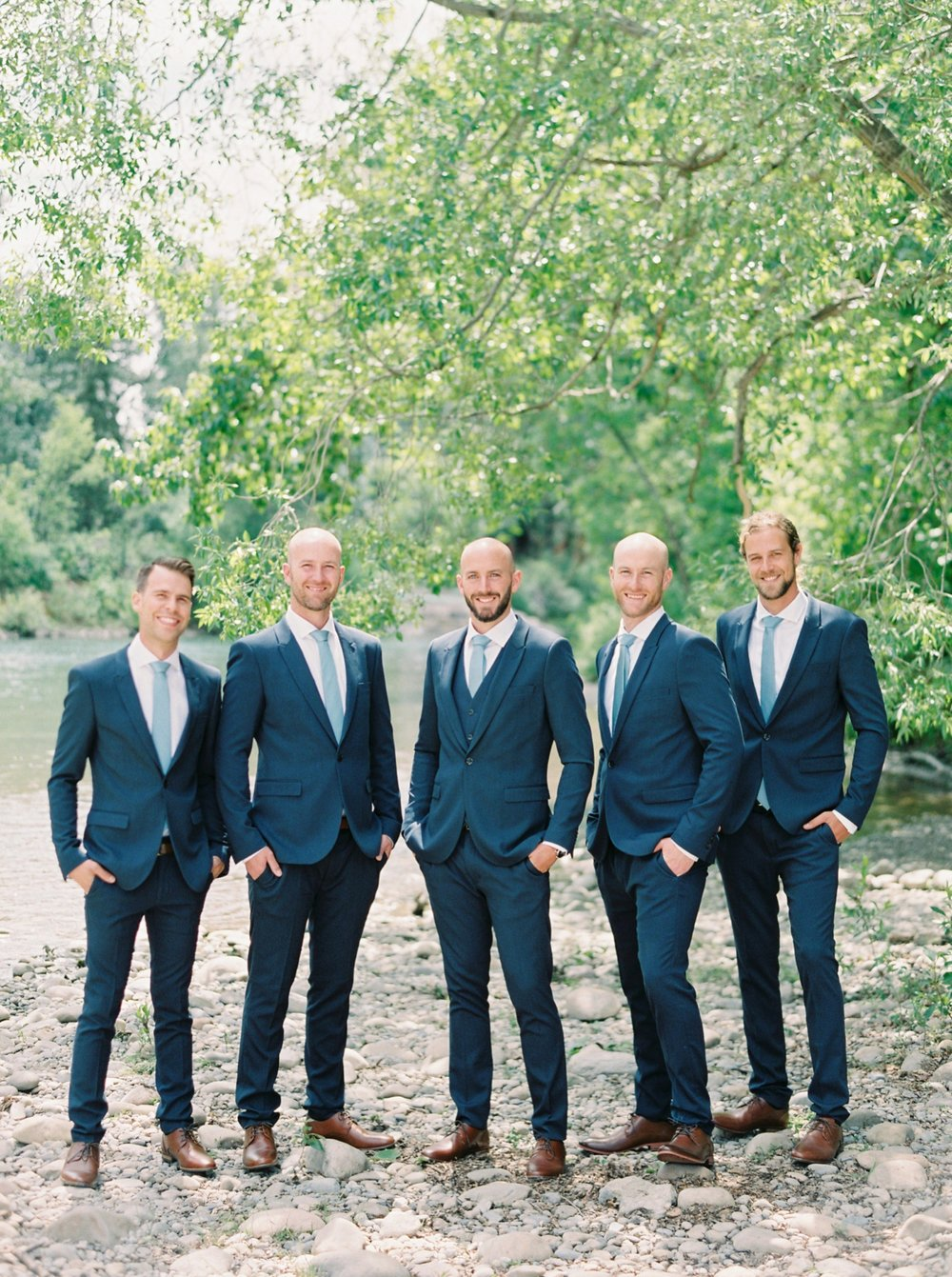 Calgary wedding photographers | The Gathered Farm Wedding | Justine milton fine art film photographer | Navy blue groomsmen suits