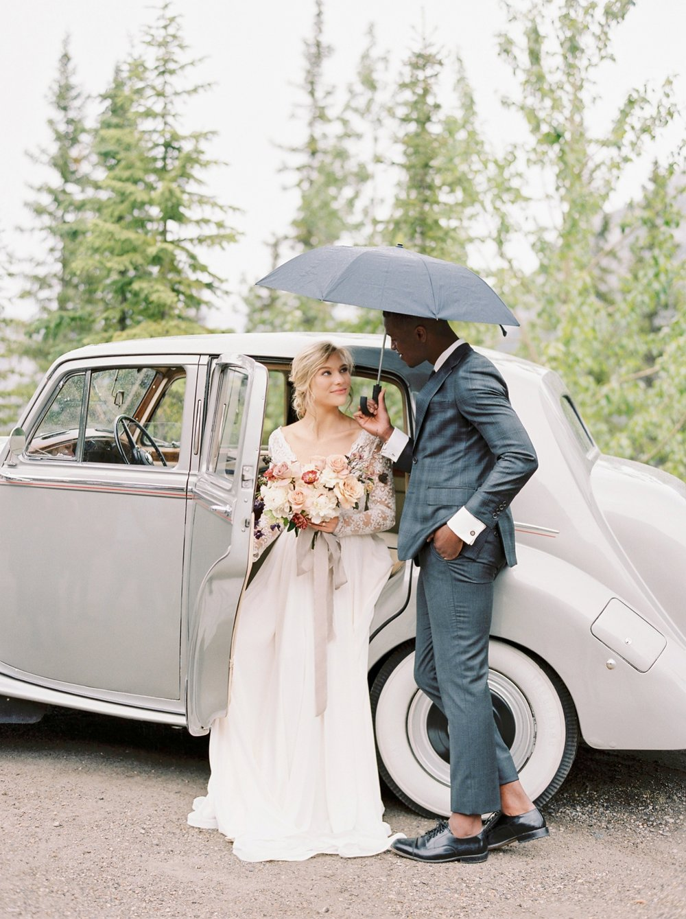 Stacey Foley Design Joy Wed Fine Art Series Photography Workshop | Banff wedding photographers | Rimrock resort wedding | bride and groom portraits with vintage rolls royce banff wedding photographers