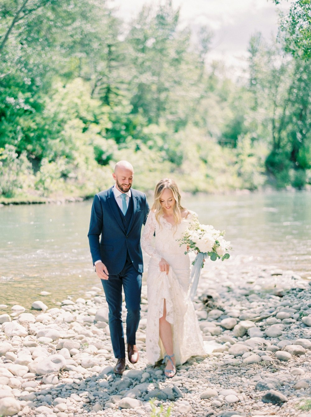 Calgary wedding photographers | The Gathered Farm Wedding | Justine milton fine art film photographer | bride and groom portraits white bridal bouquet white peonies