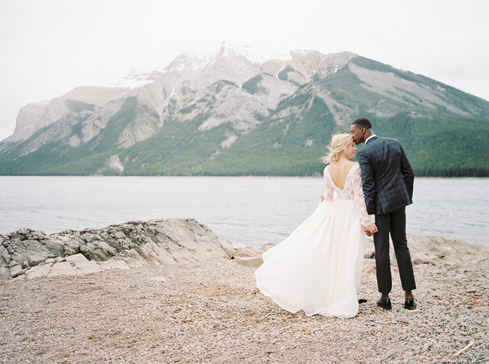Stacey Foley Design Joy Wed Fine Art Series Photography Workshop | Banff wedding photographers | Rimrock resort wedding | bride and groom portraits lake minnewanka banff wedding photographers