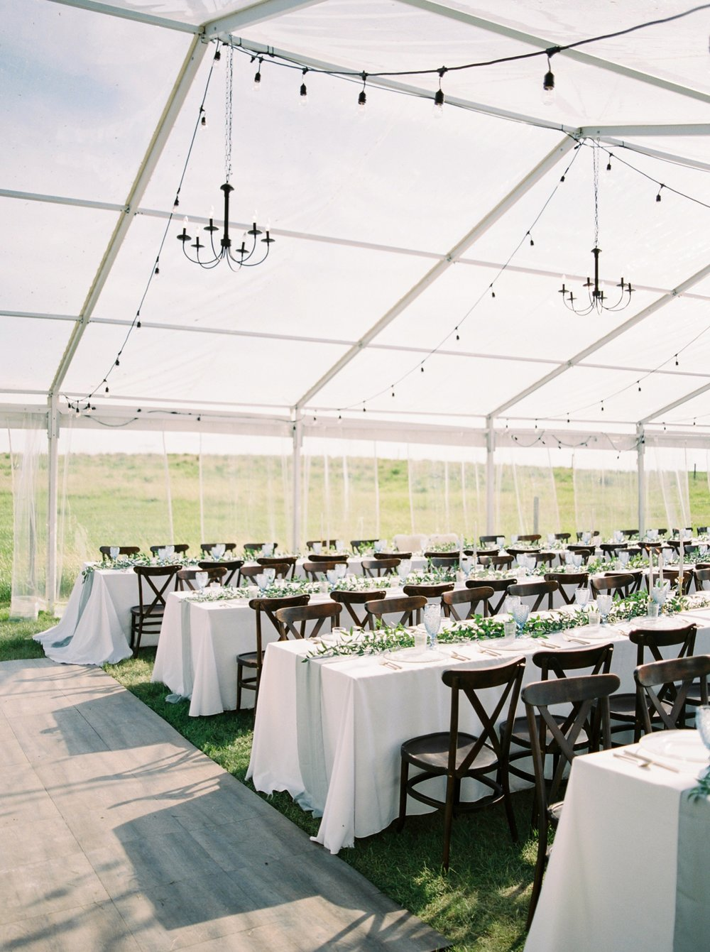 Calgary wedding photographers | The Gathered Farm Wedding | Justine milton fine art film photographer | clear tent wedding reception decor