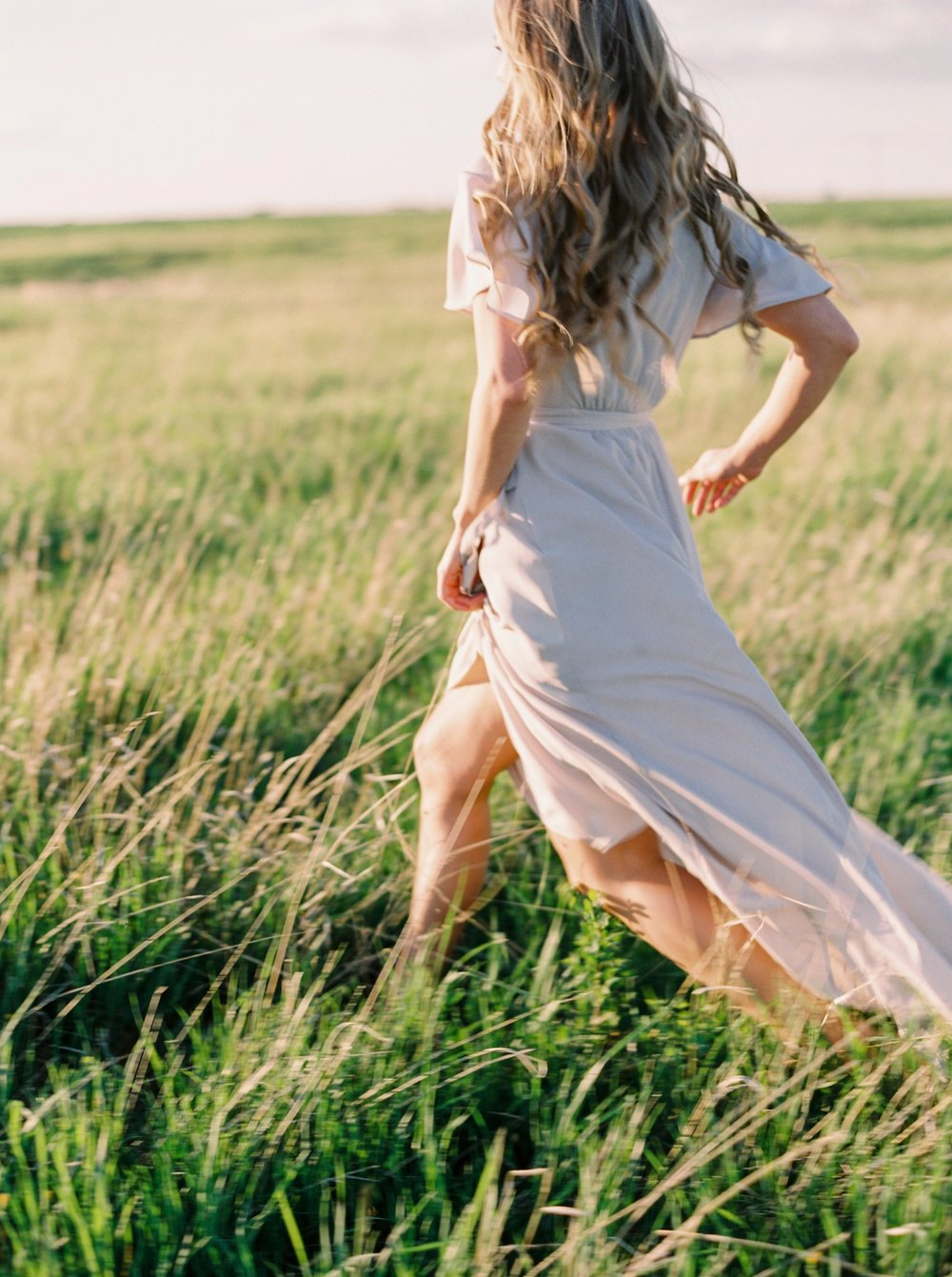Calgary wedding photographers | The Gathered Farm Wedding | Justine milton fine art film photographer | sunset bridesmaid portraits nude dresses