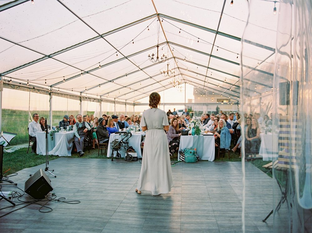 Calgary wedding photographers | The Gathered Farm Wedding | Justine milton fine art film photographer | wedding reception speaches candids