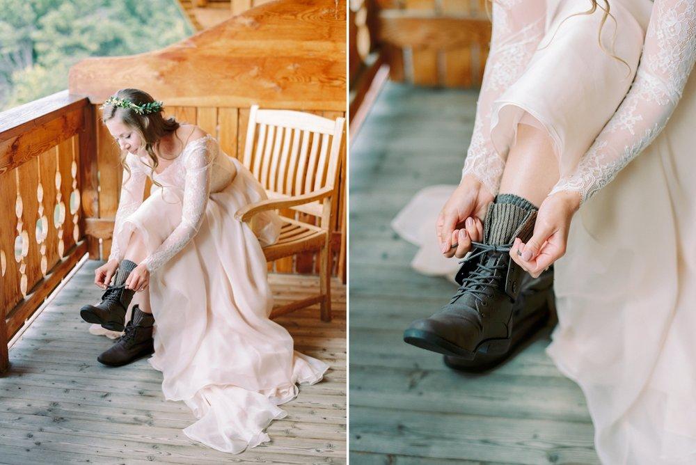 Italy wedding photographers | Dolomites mountain top wedding | bridal prep bride getting ready ski chalet | justine milton fine art film photographers