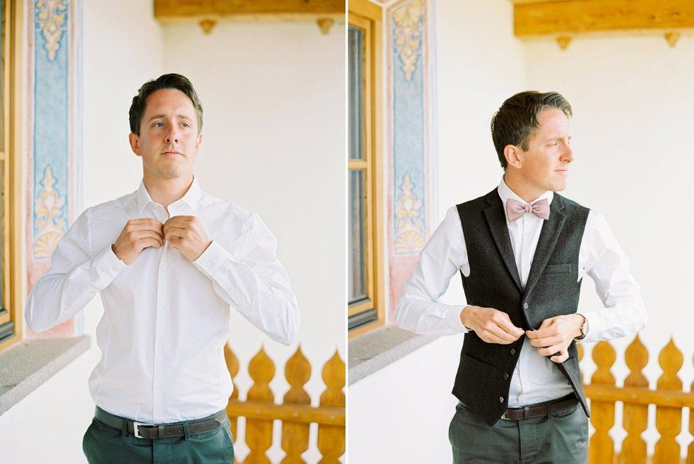 Italy wedding photographers | Dolomites mountain top wedding |groom prep getting ready ski chalet | justine milton fine art film photographers