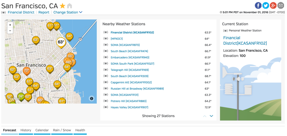 Quick ability to change your preferred weather station in the city you are viewing.