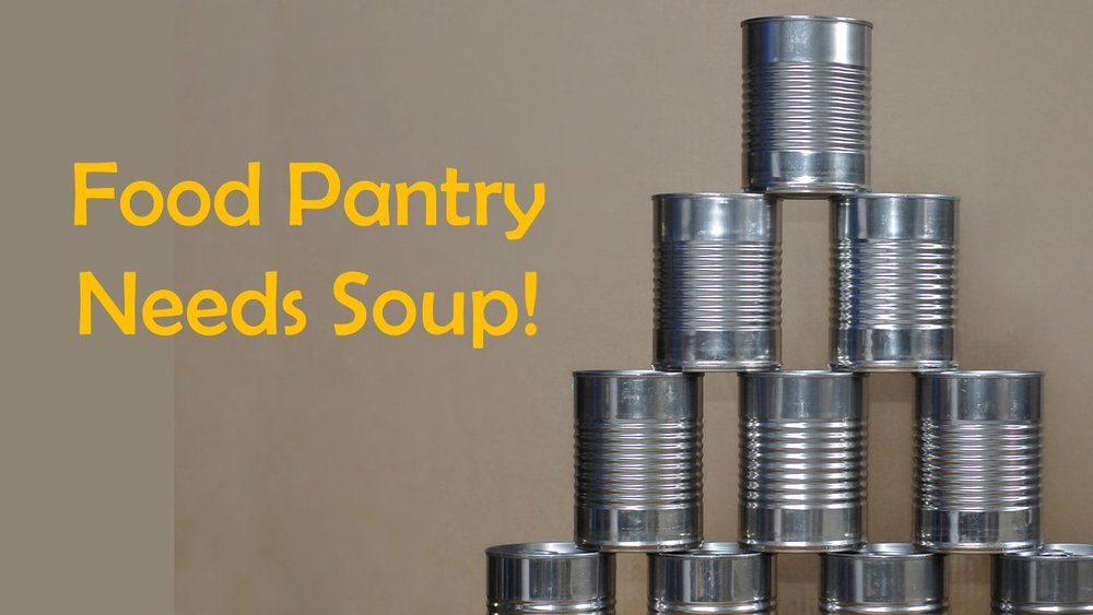 Please help feed hungry families right here in the greater Woodbury area.  Drop off your cans of soup at the church office to help the Greater Woodbury Cooperative Ministries Food Pantry program.