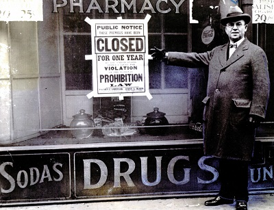 The wages of sin:  A local pharmacy was shut down for violating Prohibition laws in the 1920s. Photo courtesy of Sausalito Historical Society