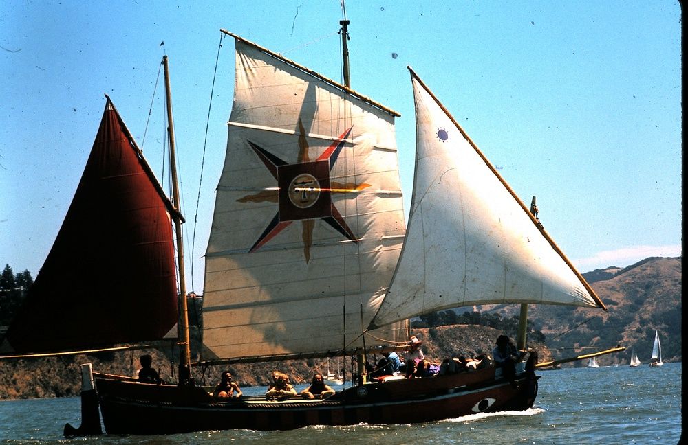 Jean Varda's Cythera under sail Photo from Varda family archives