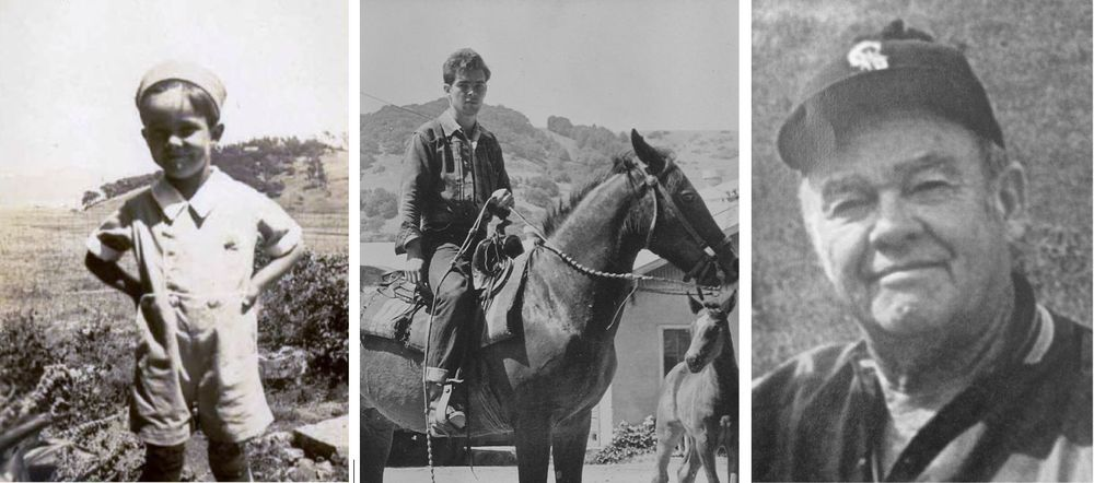 Konnie Knudsen as young boy in Waldo, as a teenager on horseback and as an adult.    Photos courtesy of Anne T. Kent California Room at the Marin County Free Library, and the Knudsen Family