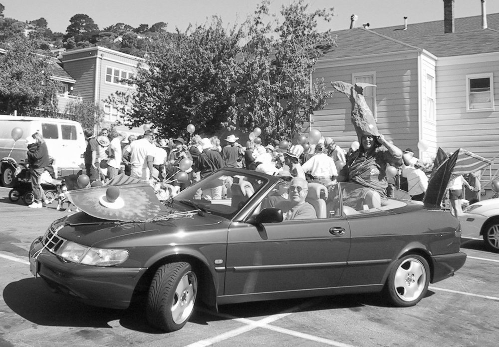 Cornell Ross and Pam Bousquet chauffeured parade F(l)ounder Laurabell Hawbecker in the 2002 parade. Photo: Larry Clinton