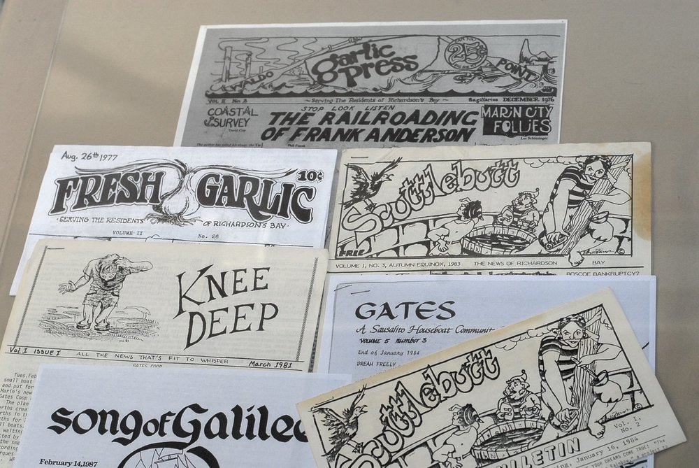 Collage of early waterfront newspapers.  Photo courtesy of Steefenie Wicks
