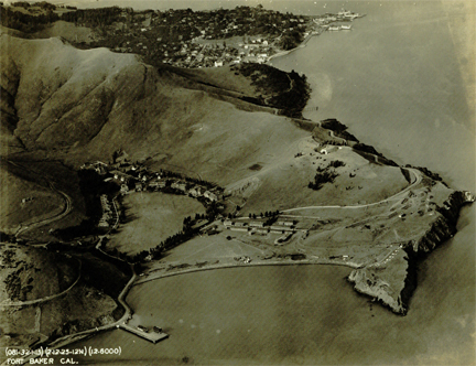 "An aerial photo of the shoreline near Ft. Baker, where the ""brow of a hill overlooking the bay"" could contain a sailor's graveyard. Photo Courtesy Sausalito Historical Society."