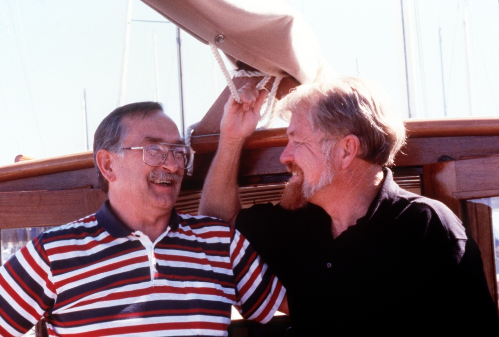 Peter Bowen (l.) and Brooks Townes aboard Peter's boat the SEAWEED in Sausalito Yacht Harbor on the 30th anniversary of landing the Indians on Alcatraz.  Photo courtesy of Brooks Townes
