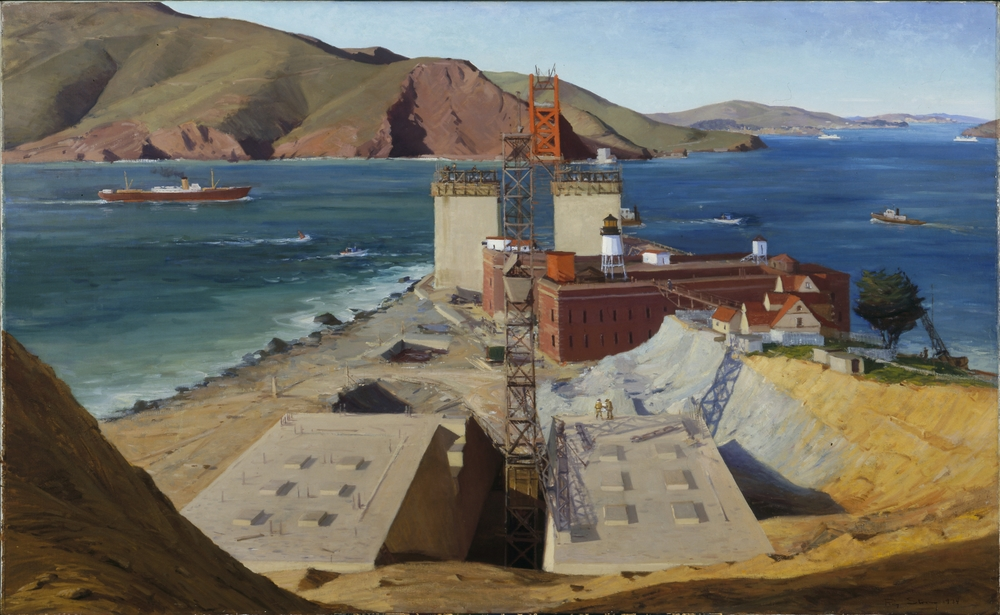 Ray Strong's famous 1934 painting of the Bridge under construction is reproduced in full color in Kevin Starr's book. Photo from Smithsonian American Art Museum, courtesy of Bloomsbury Press.