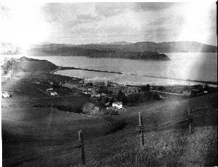 By the early 1920s the Mason By-Products Company's facilities had expanded over most of Whiskey Springs. That gravel road on the right is now known as Bridgeway. Photo courtesy of Sausalito Historical Society (Mary Bettencourt Smith Collection)