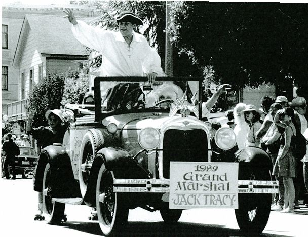 Jack Tracy was honored as Grand Marshall of the 1989 Fourth of July Parade. Photo courtesy of Sausalito Historical Society
