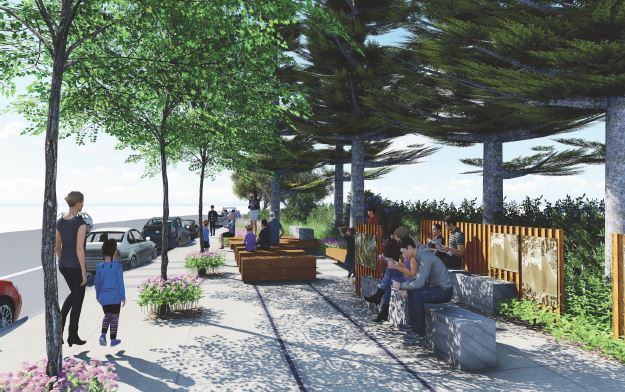 SWA's renderings of the proposed plaza looking south