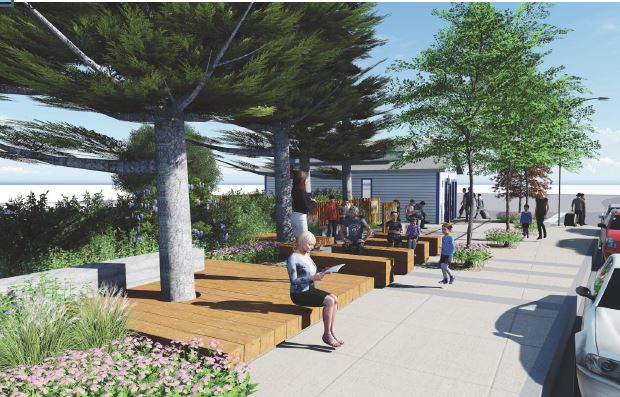 SWA's renderings of the proposed plaza looking south.