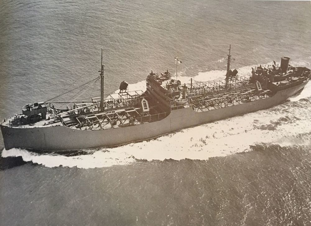 T 2 tanker underway during WWII. Photo courtesy of Sausalito Historical Society