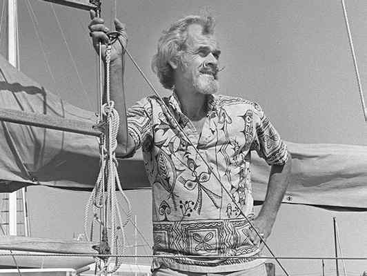 "Bill King aboard his beloved ""Varuna"" Photo from Main Independent Journal"