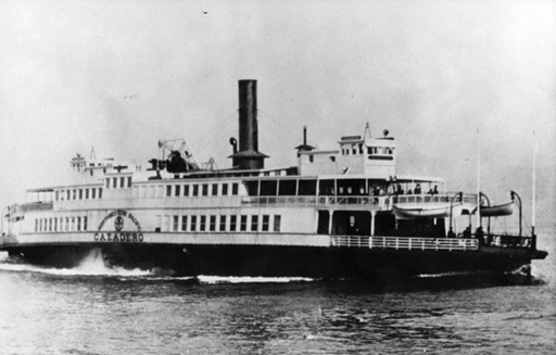 The ferry Cazadero under way ca. 1922.