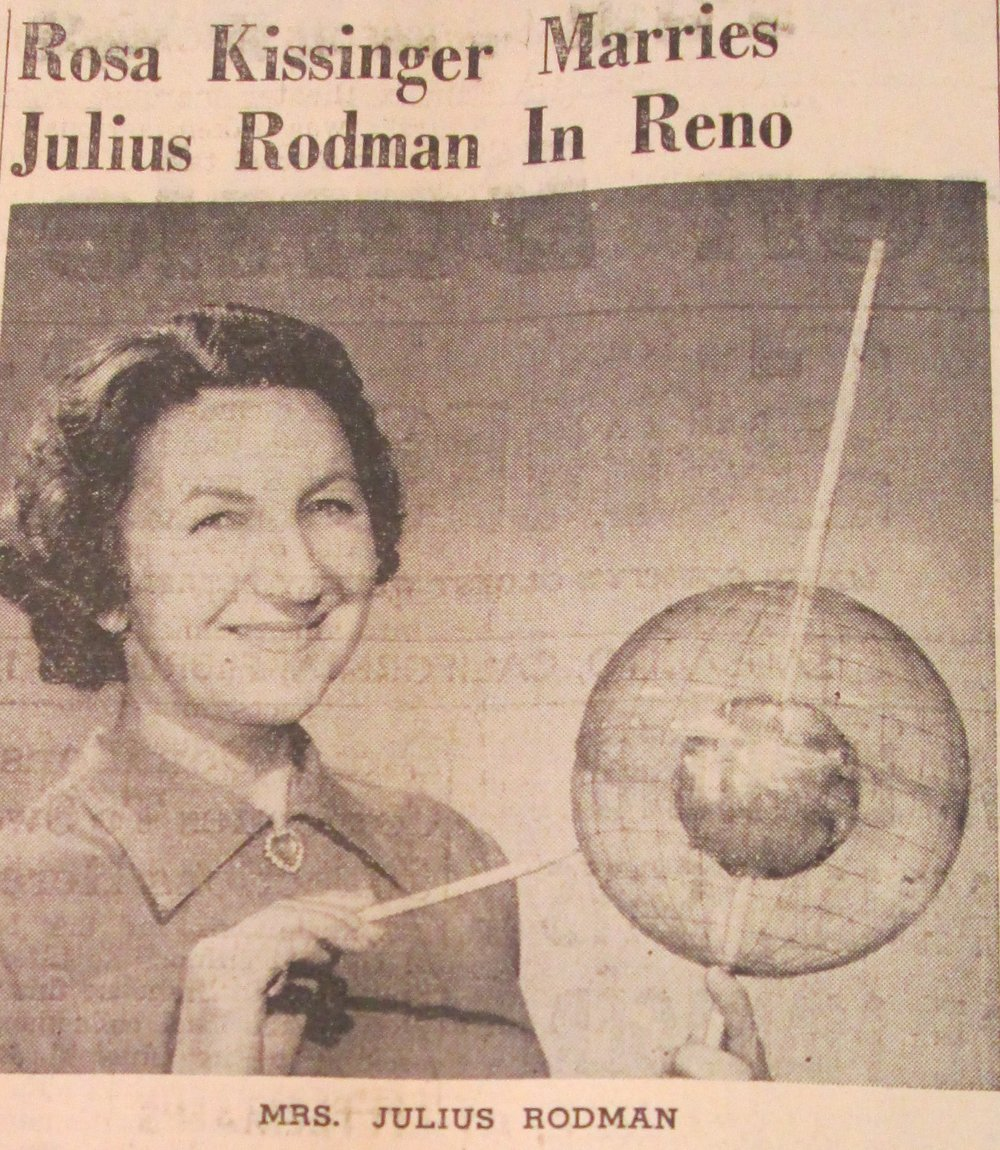 Rose Kissinger holding her invention in a clipping from the 1953 Sausalito News. Courtesy of Sausalito Historical Society