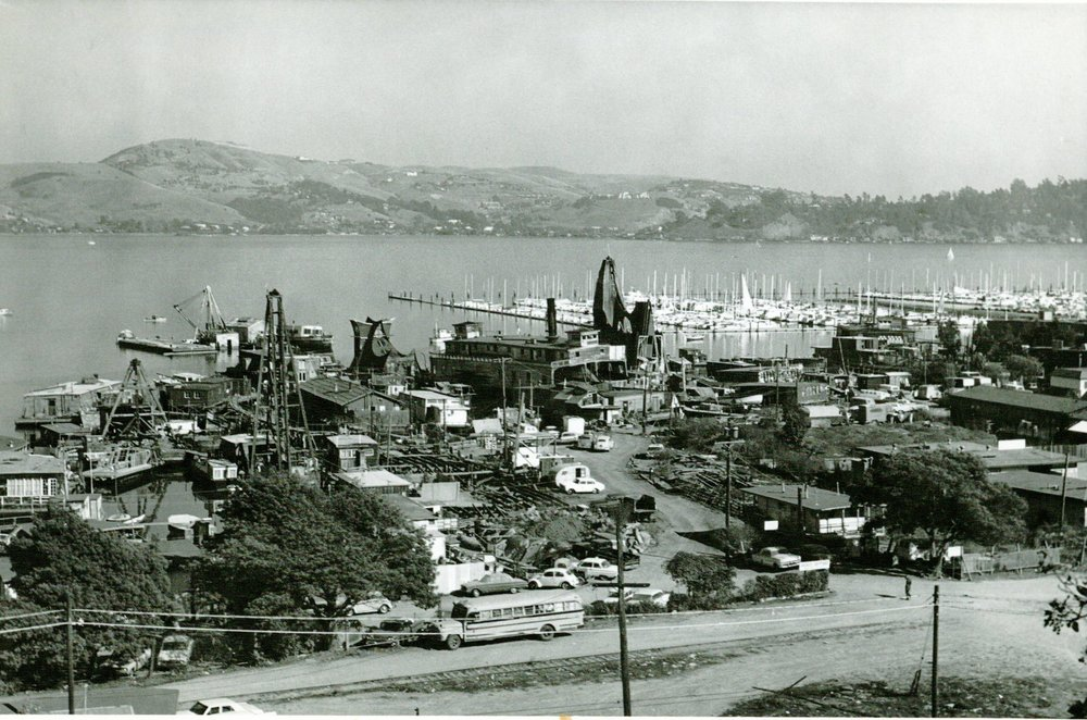 The Madonna towers over its neighbors (upper right).  To the left, past the ferry Vallejo, is the next-highest structure, the Owl.        Photo courtesy of Sausalito Historical Society