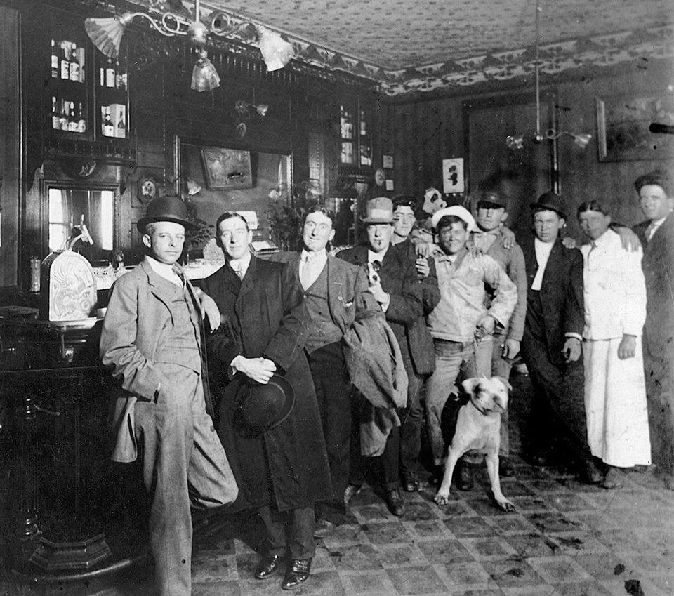 Convivial crowd at the Buffalo Hotel in 1902.  Photo Courtesy of John Harris and the Facebook history group American Saloons, Bars and Taverns