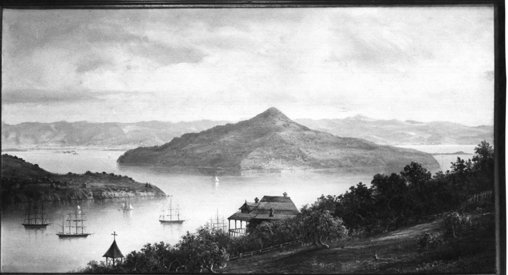 Sausalito on a Sunday morning in 1885. Bell tower of Christ Church at lower left.  Painting by Norton Bush, courtesy of Sausalito Historical Society