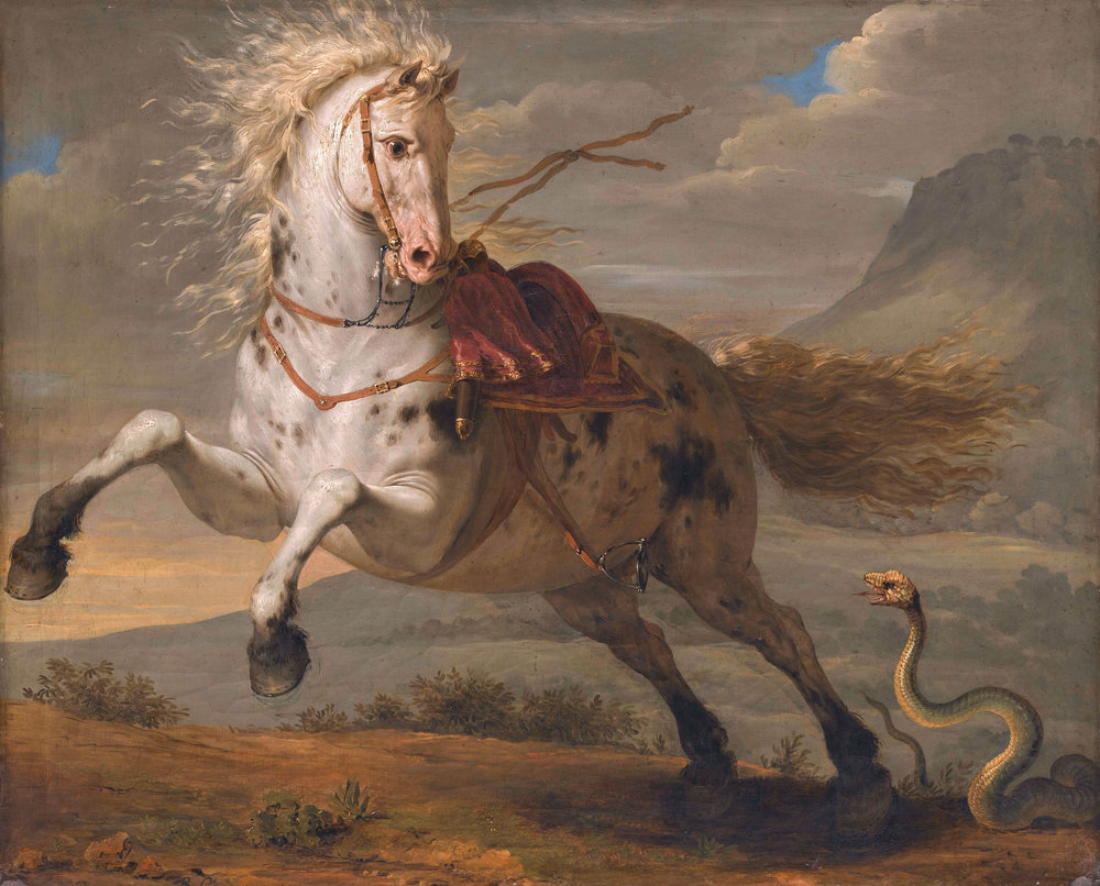 """The horse and the Snake,"" painted in 1787 by Bénigne Gagneraux, hangs in the Musée Magnin in Dijon, France."