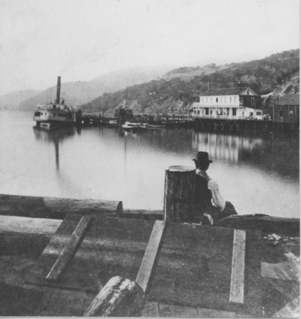 """""""New"""" Sausalito from the North Pacific Coast Railroad wharf, looking south c. 1875.  Photo by English photographer Edward Muybridge, courtesy of Sausalito Historical Society"""