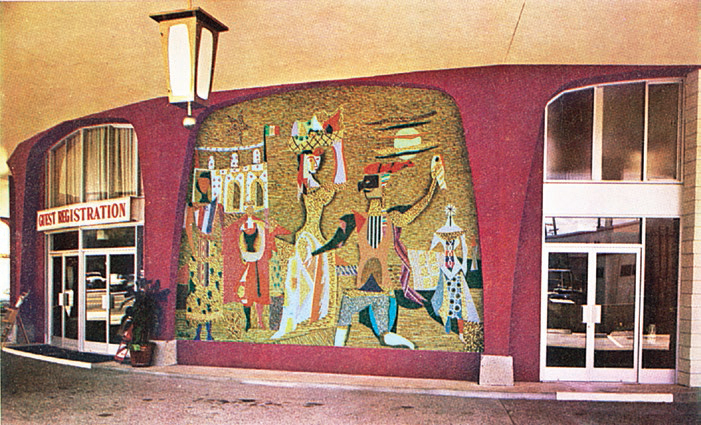 Mural as it appeared at the main entrance to the Villa Roma Motor Motel   Photo from Echiler Network
