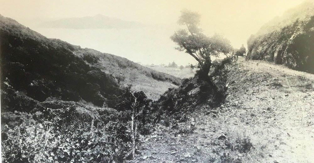 Sausalito Boulevard high above Old Town c. 1890 with Angel Island in the background.  Photo from Moments in Time.
