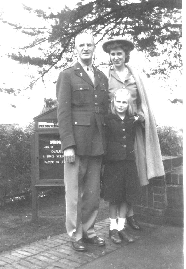 After enlisting, Reverend Sidebotham posed with his wife and daughter in front of the Sausalito Presbyterian Church. PHOTO COURTESY OF SAUSALITO HISTORICAL SOCIETY