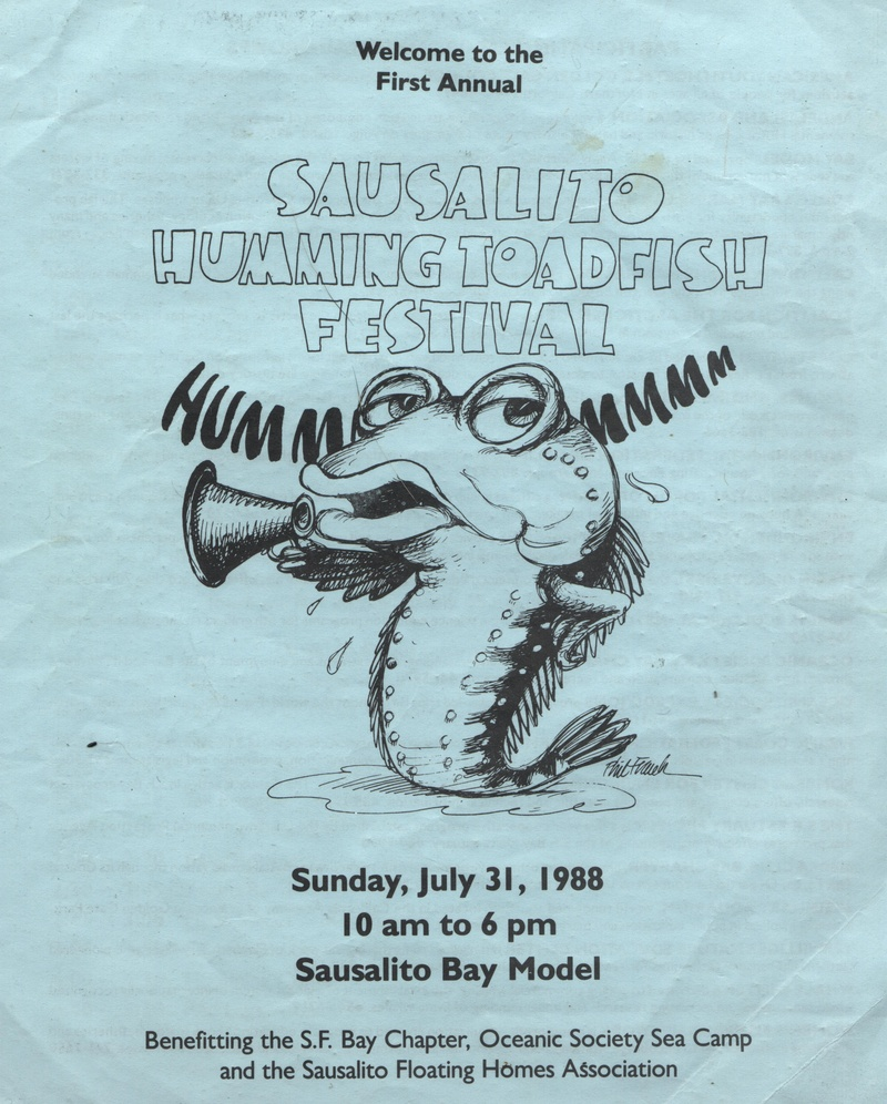 ILLUSTRATION COURTESY OF SAUSALITO HISTORICAL SOCIETY  Phil Frank designed the poster for the first Toadfish Festival