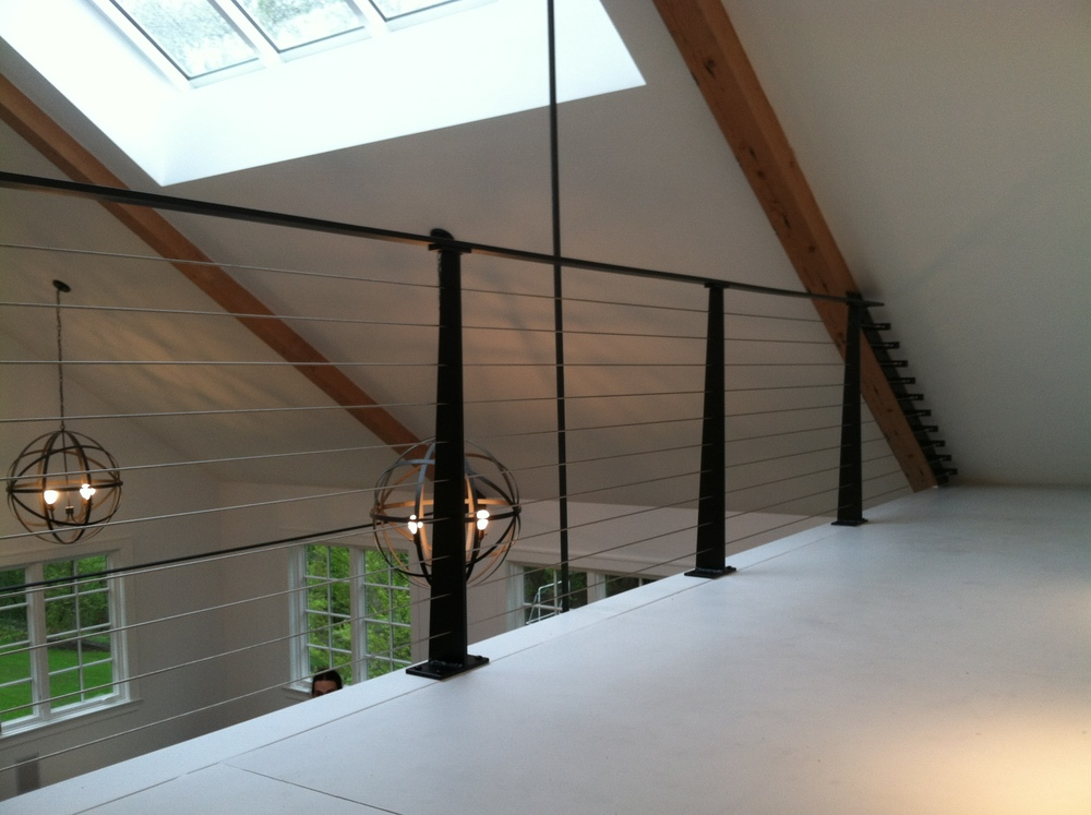 Stainless Steel Wire Railing, with Custom Steel Posts.