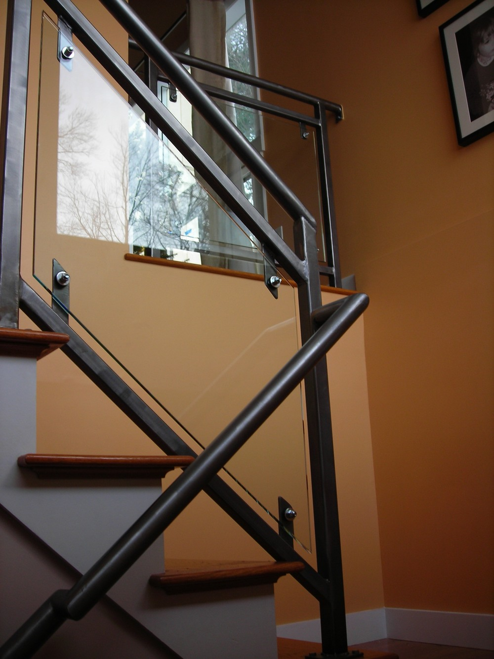 Steel & Glass-Panelled Railings. Brushed Finish Topped with Clear Coat. (2)