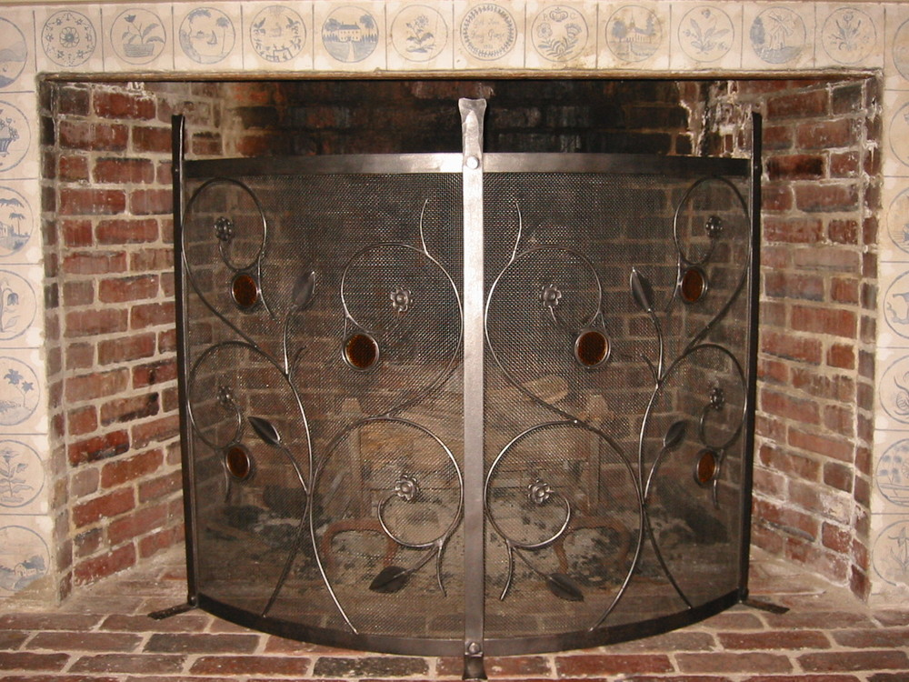 Free-Standing Firescreen with Glass Elements